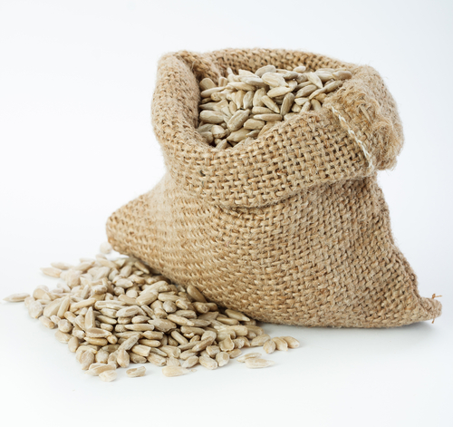 Small burlap sack with seeds - stock photo