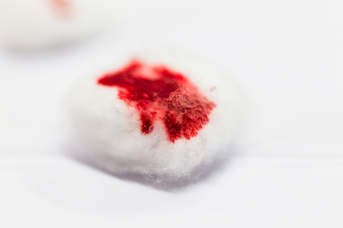 Cotton wool with blood