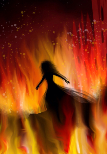 Silhouette of a woman in flames