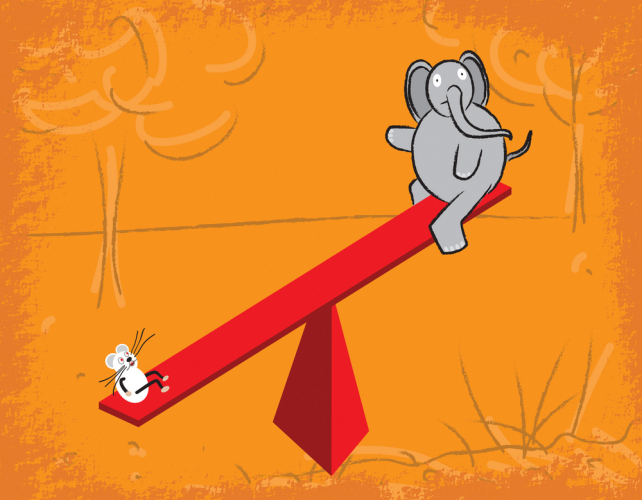Elephant and a mouse on a see saw
