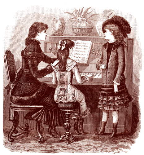 Upper class Victorian family sitting around a piano