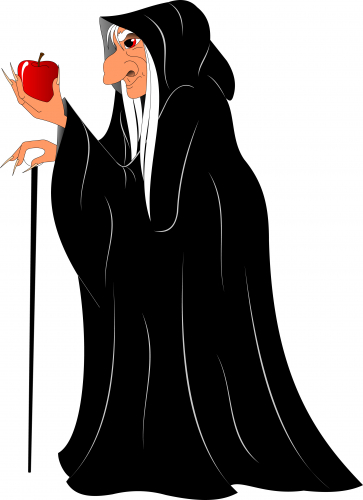 Evil cloaked lady holding an apple