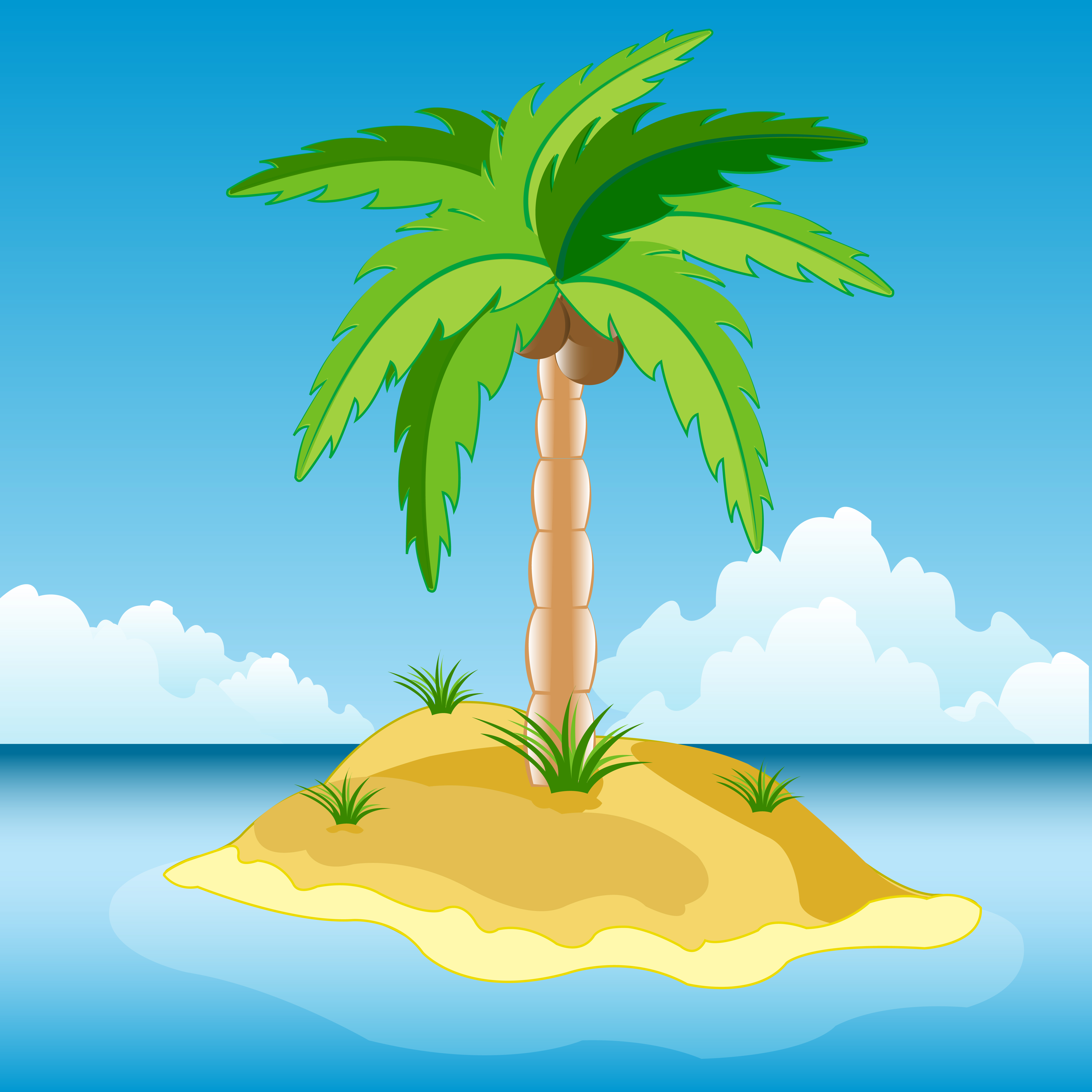 Tropical island with palm tree