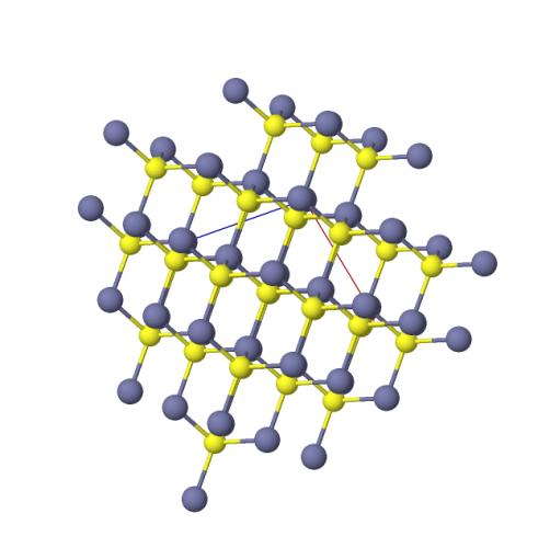 Ball and stick image of zinc sulfide