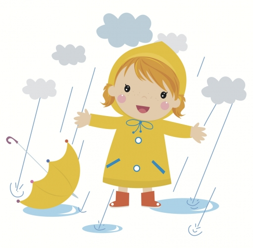 A little girl in the rain in a yellow raincoat