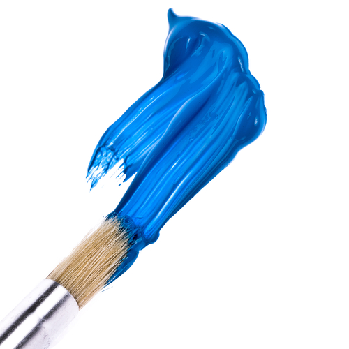 paint brush and blue paint