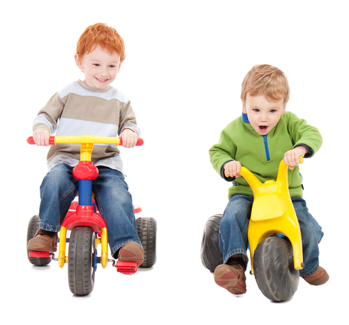 Two little boys on bikes