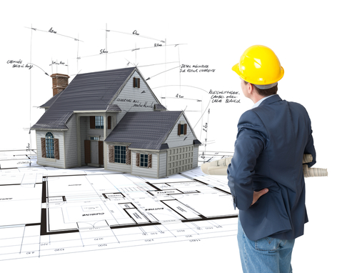 Man in hard hat looking towards house with measurements