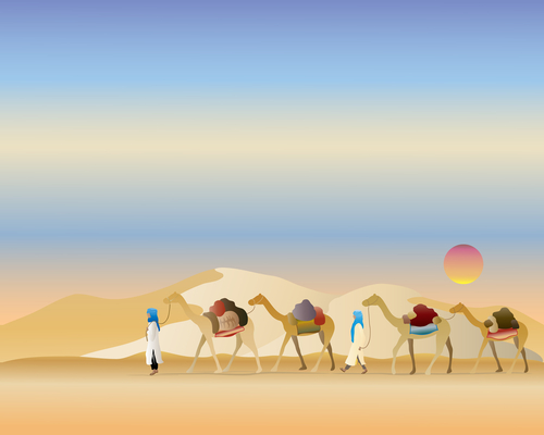 Camels walking in the dessert