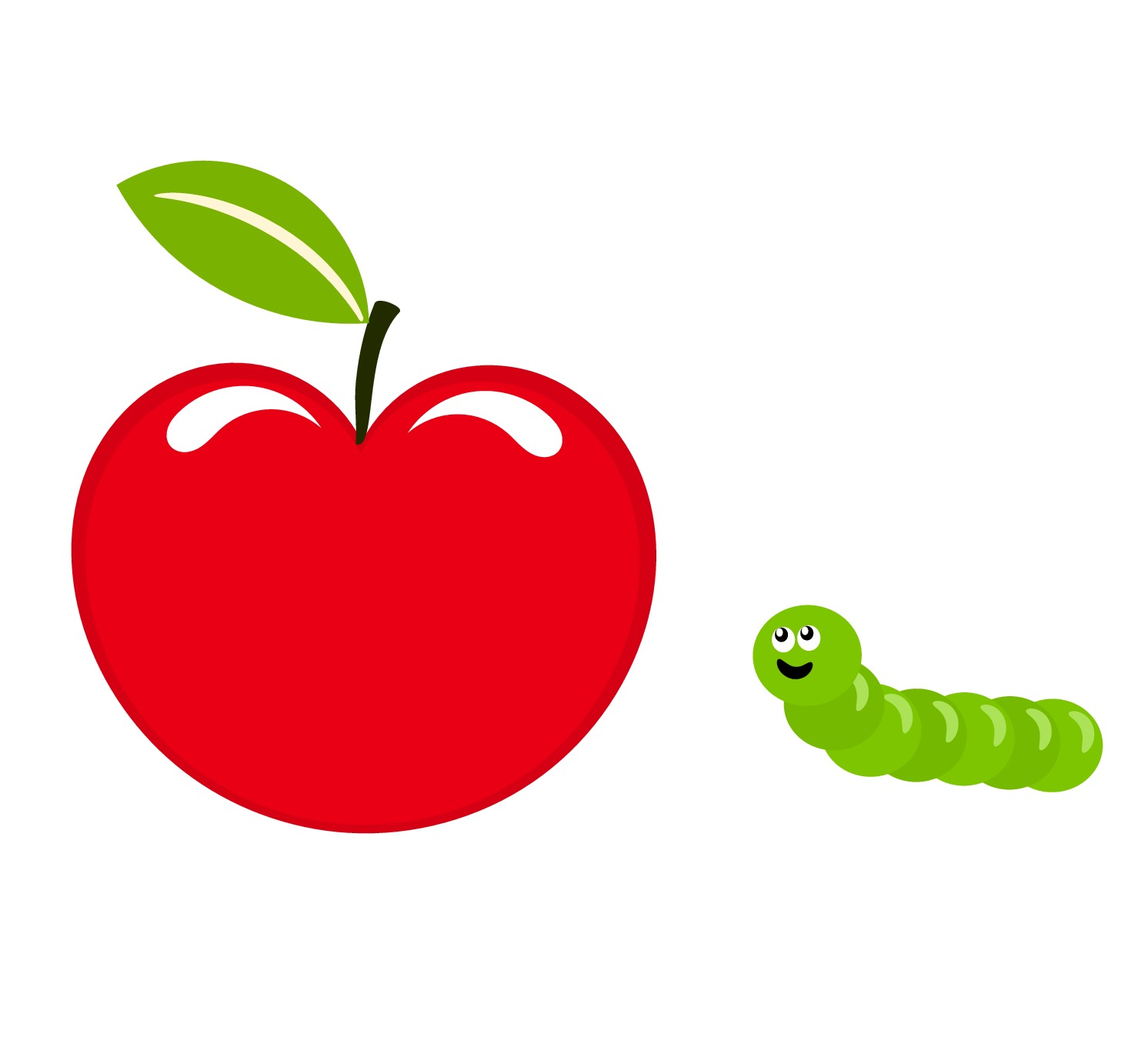 Caterpillar eating apple