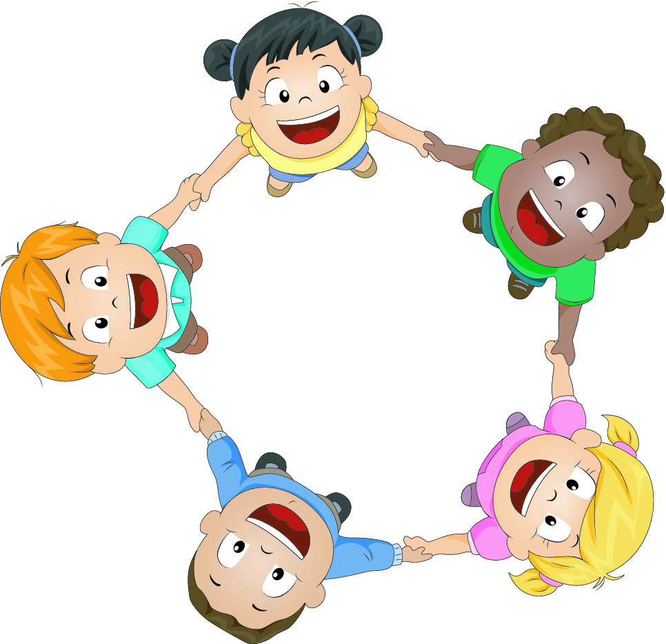 cartoon children holding hands in the circle