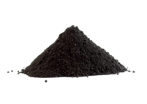 Pile of black powder isolated on white - stock photo