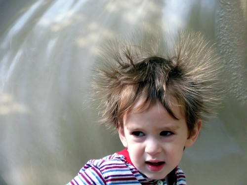 Child with static hair