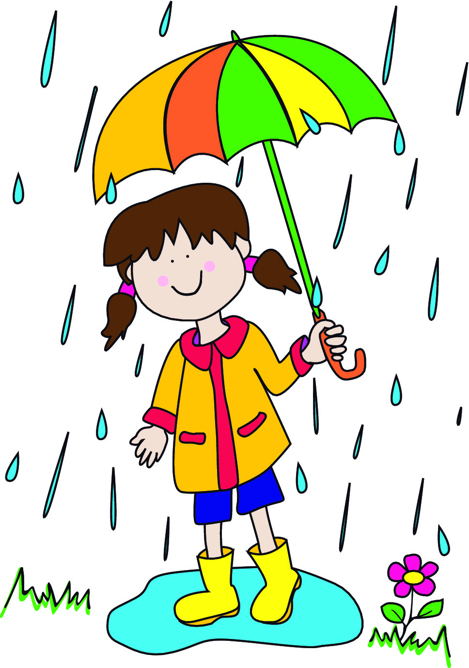 Little girl under her umbrella in the rain
