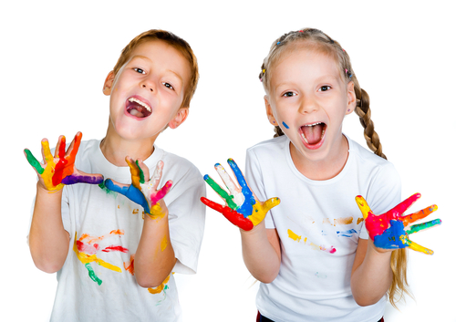children with paint on hands