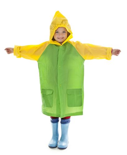 child in raincoat