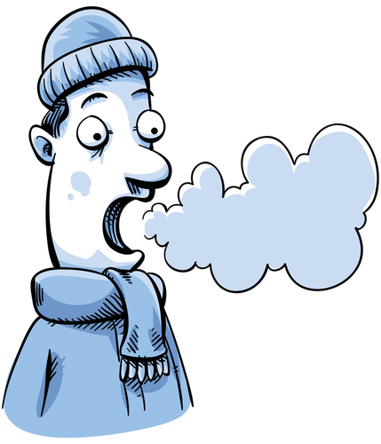 A cartoon man in cold weather can see his breath. - stock photo