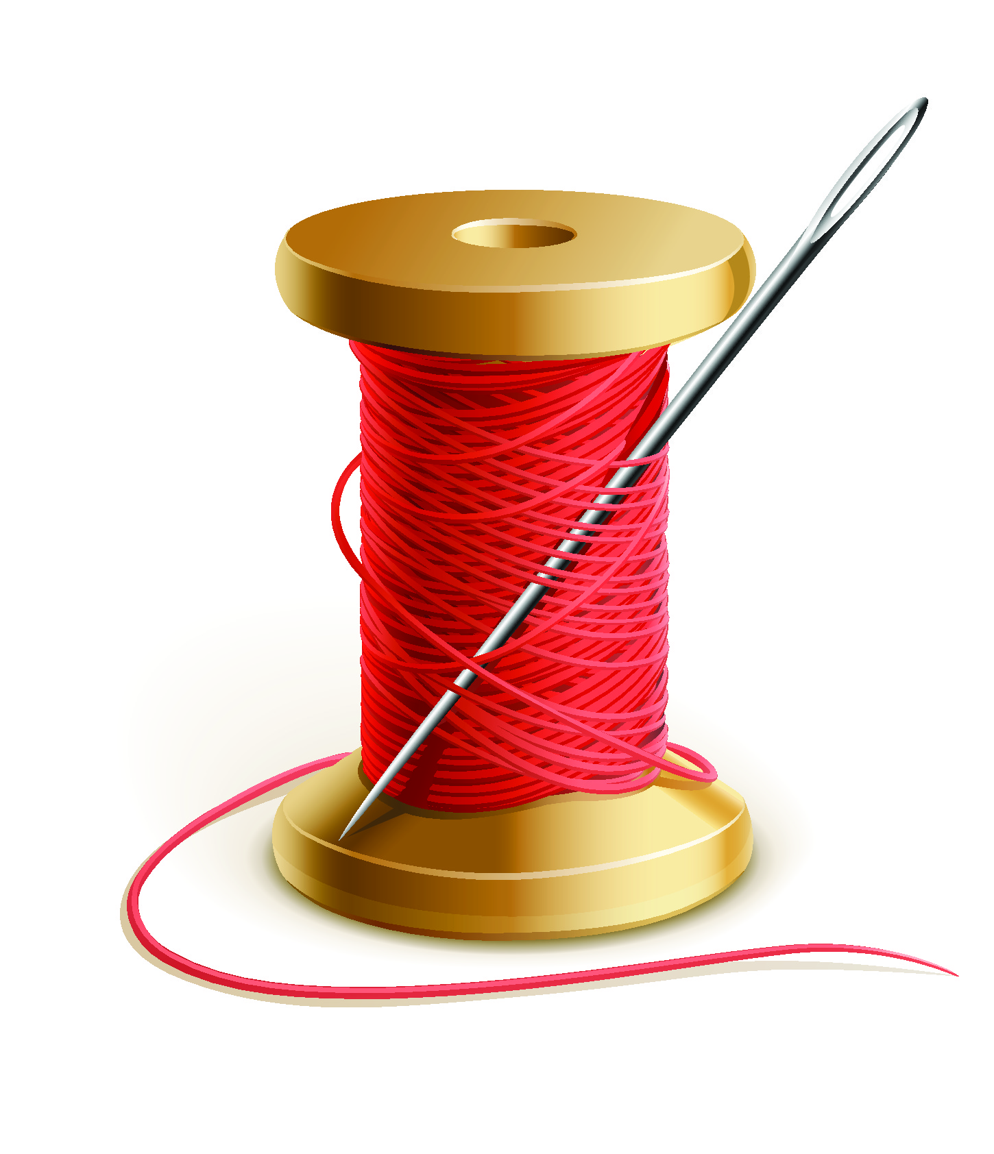cotton reel with a needle