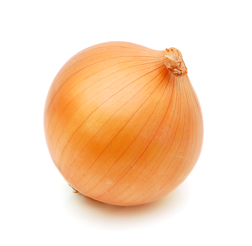 Fresh onion bulbs isolated on white background, clipping path included - stock photo