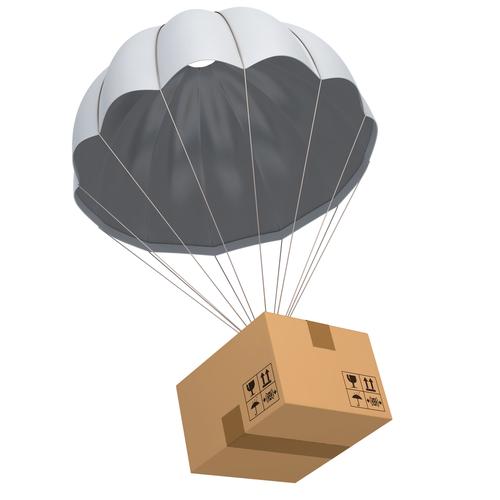 Box under parachute