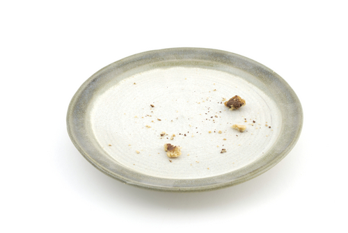 Plate with crumbs on