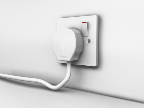 Mains plug in socket