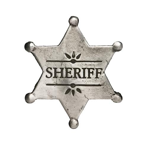 sheriff star isolated on white - stock photo
