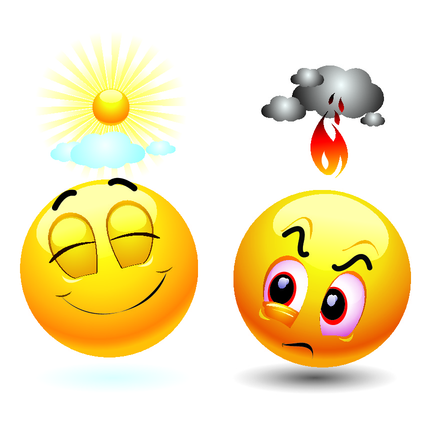 Two emojis, one with sunshine and one with rain.
