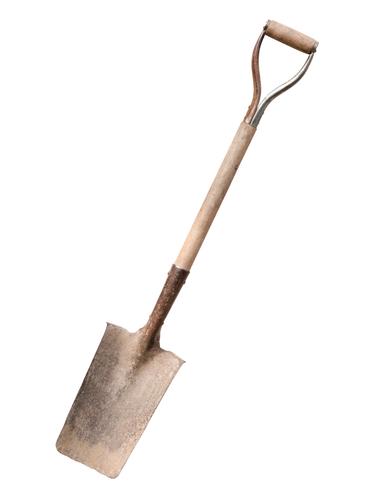 old shovel on white background - stock photo