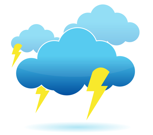 Thunder cloud and lightning illustration over white background - stock photo