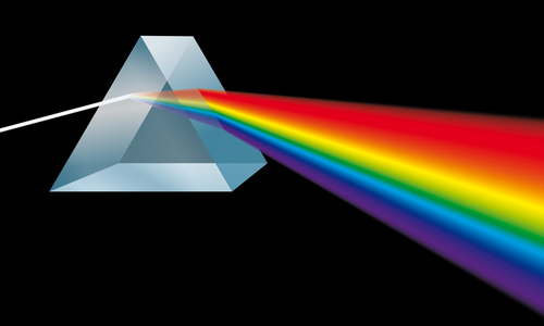 Prism dispersing light