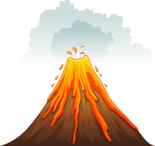 Illustration of a volcano erupting - stock vector